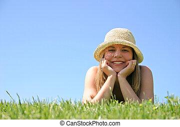 kvinde, græs