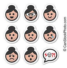 kvinde, hår, zeseed, bolle, bedstemor