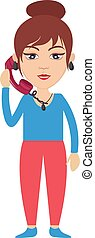 kvinde, illustration, telefon, baggrund., vektor, hvid