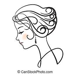 kvinde, illustration, zeseed, vektor, smukke