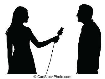 kvinde, interview, interviewer, presse, led