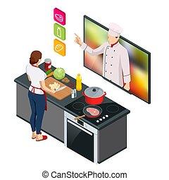 kvinde, køkkenchef, online, lektion, masterclass, professionel, undervisning, cooking., streaming, online., webinar, mens, hjem madlavning, isometric
