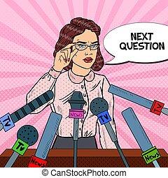kvinde, kunst, give, medier, affyre, tillidsfuld, vektor, mængde, illustration, interview., presse, conference.