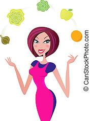 kvinde, mad, sunde