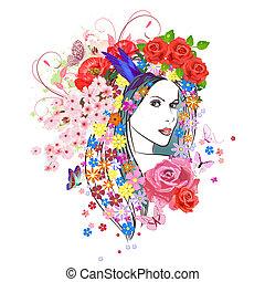 kvinde, mode, blomster, hair., unge, portræt, smukke