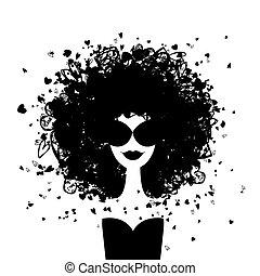 kvinde, mode, din, portræt, konstruktion