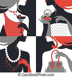 kvinde, mode, silhouettes., sæt formgiv, lejlighed, smukke