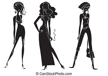 kvinde, mode, white., vektor, konstruktion, modeller, klæder