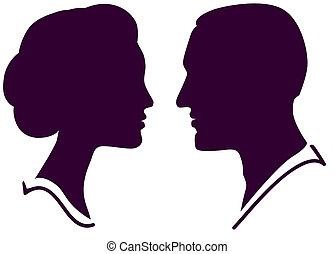 kvinde, par, zeseed, profil, vektor, kvindelig, mandlig, mand