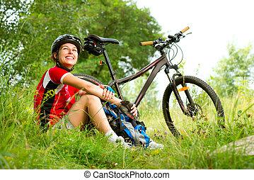 kvinde, ride, glade, lifestyle, unge, cykel, sunde, udenfor.