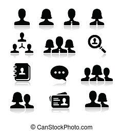 kvinde, sæt, iconerne, vektor, bruger, mand