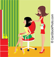 kvinde, salon., skønhed