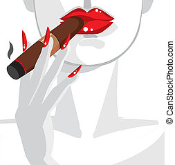 kvinde, sexet, ryge cigar, rød
