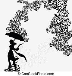 kvinde, silhuet, abstrakt, under, swirl, paraply