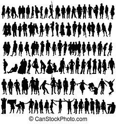 kvinde, silhuet, folk, vektor, mand sort