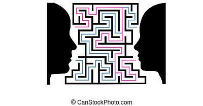 kvinde, silhuetter, opgave, mand ansigt, labyrint