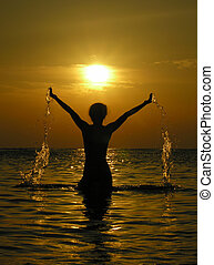 kvinde, solopgang, dro