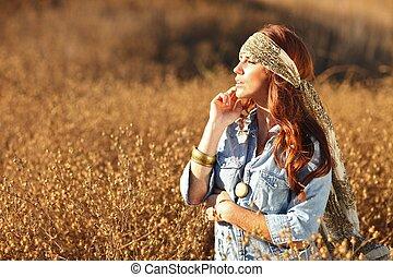 kvinde, summertime tid, felt, smukke