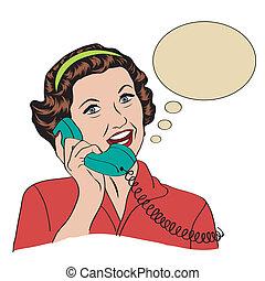 kvinde tales, telefon, popart, retro, komisk