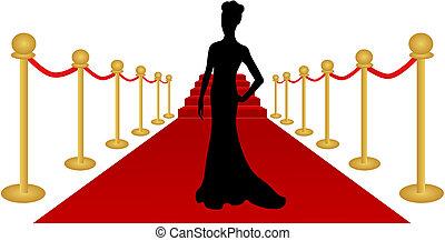 kvinde, vektor, silhuet, rød gulvtæppe