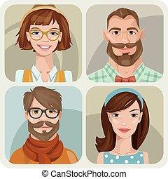 kvindelig, fire, sæt, mandlig, characters., unge