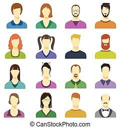 kvindelig, firma, moderne, avatars, icons., personer, vektor, menneske, ansigter, mandlig