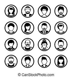 kvindelig, iconerne, vektor, avatar, cirkel, mandlig
