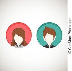 kvindelig, mandlig, icons.