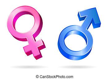 kvindelig, mandlig, symboler gender