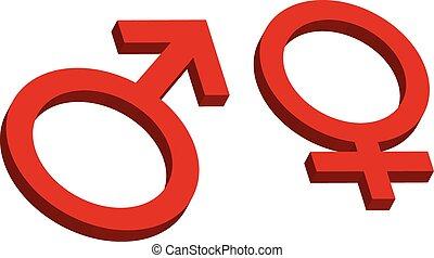 kvindelig, mandlig, tegn