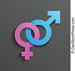 kvindelig, mandligt symbol
