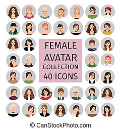 kvindelig, sæt, avatar, samling, iconerne