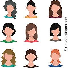 kvindelig, vektor, avatar, illustration, ansigter
