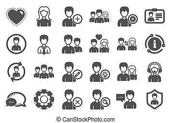 kvindelig, vektor, icons., mandlig, brugere, profiles.