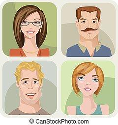 kvindelig voksen, fire, sæt, mandlig, characters., unge