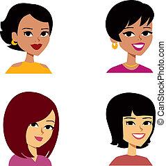 kvinder, cartoon, avatar, multi-ethnic