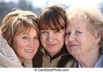 kvinder, generationer, portræt, æn, familie, tre