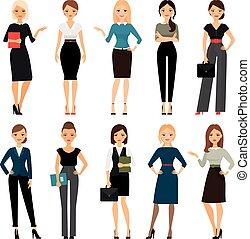 kvinder, kontor, klæder