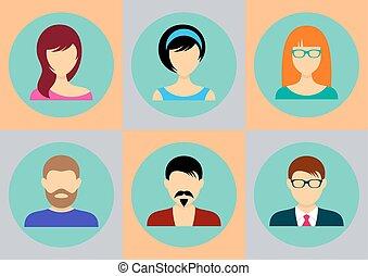 kvinder, mænd, avatar, iconerne
