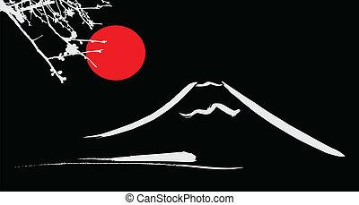 kyoto, fuji mount, sol, blomster, osaka, rød, udsigter