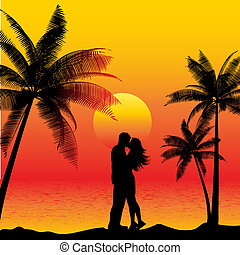 kyss, par, strand
