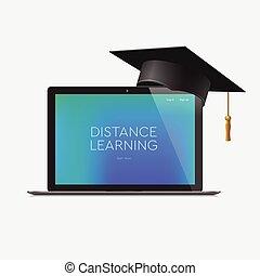 lærdom, afstand, online, arbejdspladsen, illustration., vektor, hjem, undervisning