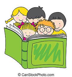 læsning, børn, bog