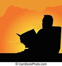 læsning, illustration, mand