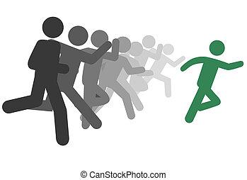 løb, folk, symbol, eller, forspring, væddeløb, leder, mand