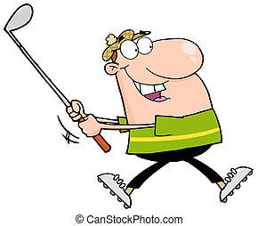 løb, golfer, glade