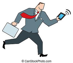 løb, tablet, forretningsmand