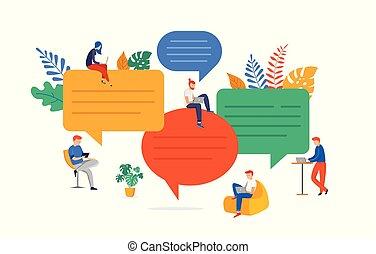 løser, lejlighed, søgen, gruppe, folk, kommunikation, brainstorming., unge, illustration, snakker, ideer, vektor, problem, firmanavnet