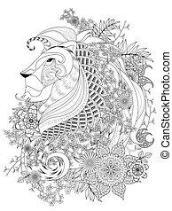 løve, coloring, voksen, side