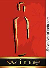 label., rød, illustration., vektor